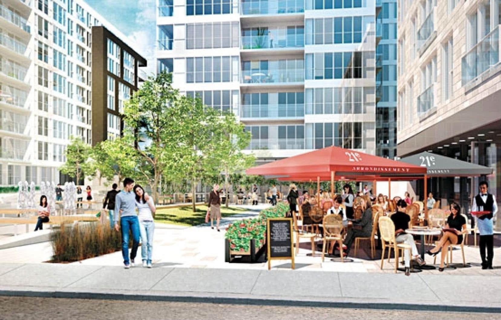 Le prochain projet qui verra le jour est le 21e Arrondissement, un projet de condos situé dans le Vieux-Montréal qui se distinguera surtout par l'aménagement d'un square central, où on trouvera des services de proximité au rez-de-chaussée.