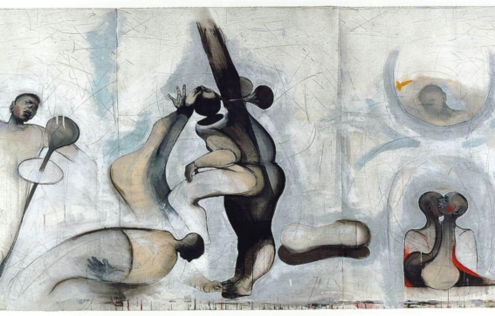 Le théâtre implacable du monde, 1992, pierre noire, acrylique et gesso sur papier (passage sous presse), 112 x 242 cm.