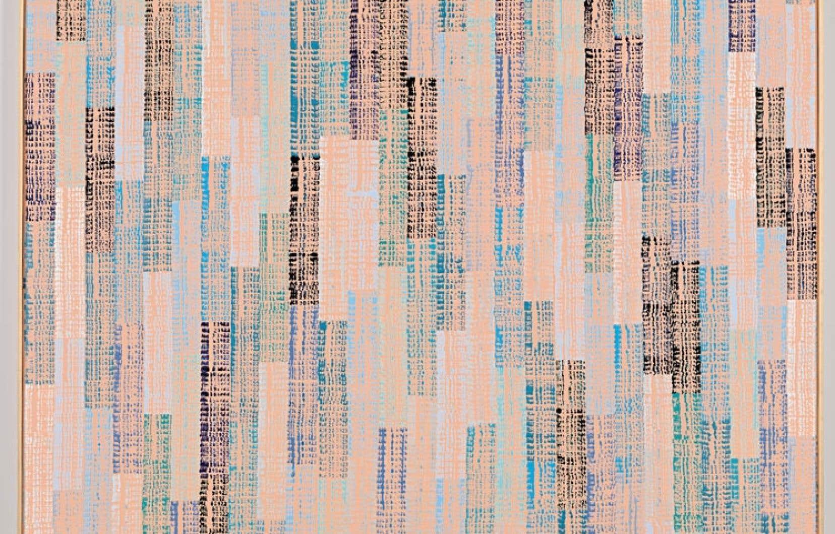 Détail d'un des dix tableaux XXe siècle de Bill Vazan (1973-1975. Acrylique estampillée sur toile) à gauche.