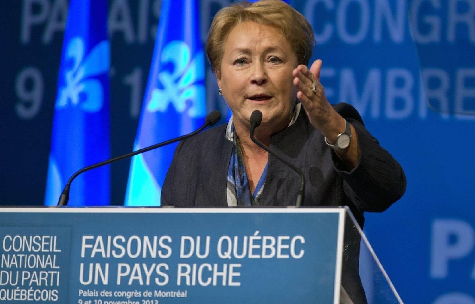 Las première ministre Pauline Marois, s'adressant aux membres du Parti québécois.