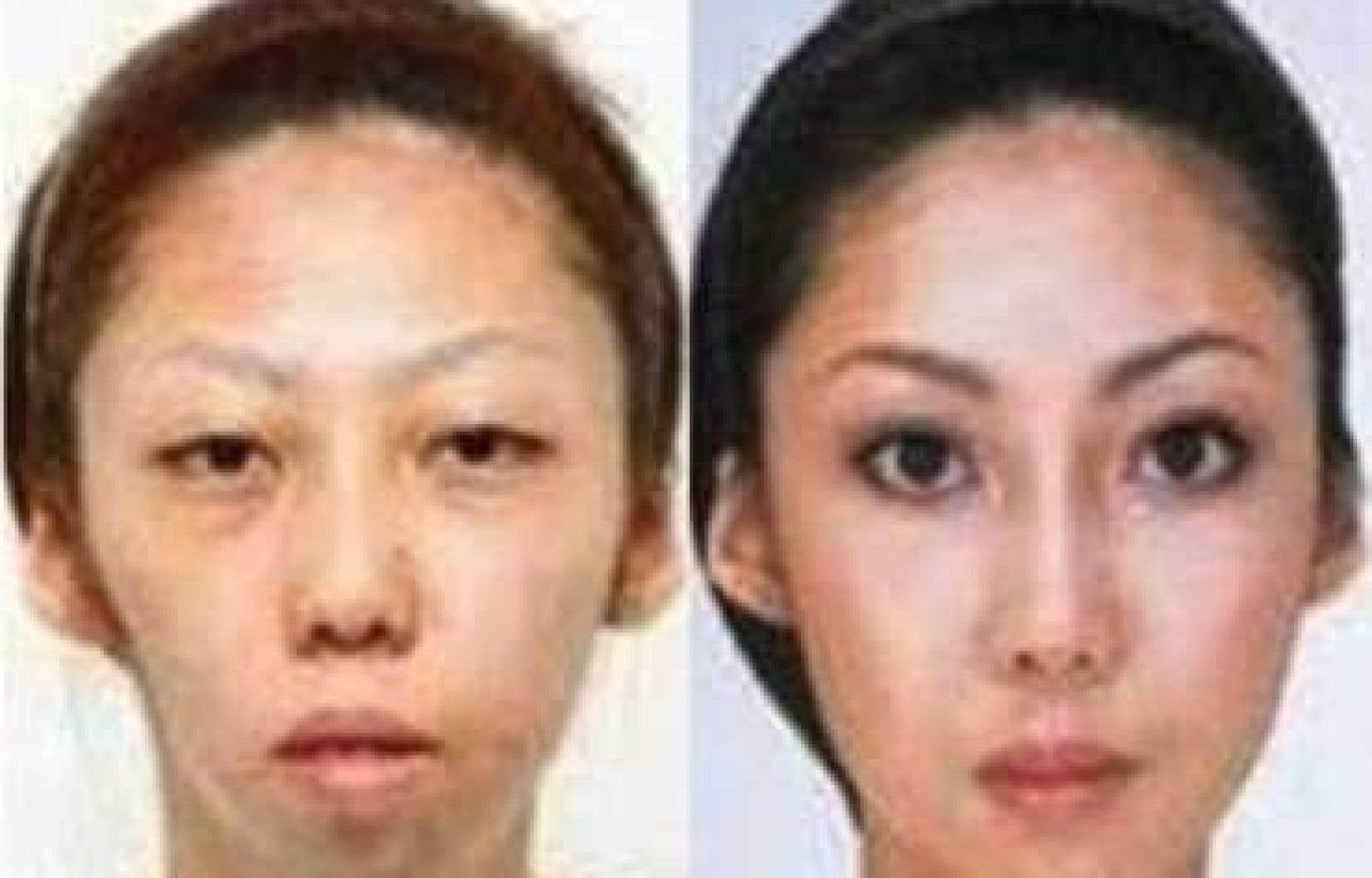 Avant, après. Ce cliché prétend montrer le vrai visage de la femme de Jian Feng. Sa laideur aurait été masquée par de la chirurgie.