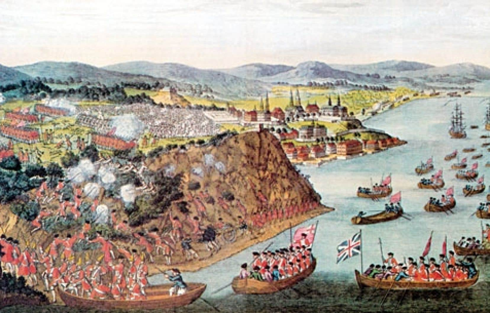 À Québec en 1759, les hommes de Wolfe prennent d'assaut les plaines d'Abraham pour tenter de surprendre les défenseurs de la ville.