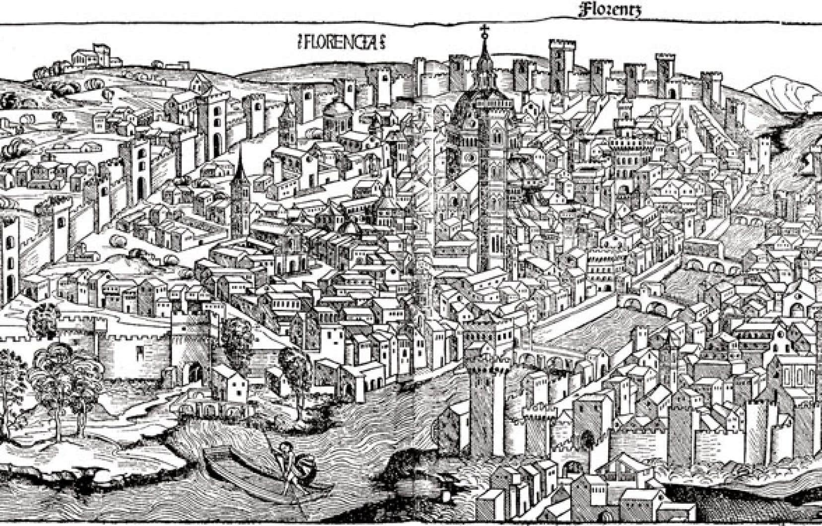 Vue sur la ville de Florence, approximativement vers 1493. Auteur inconnu.