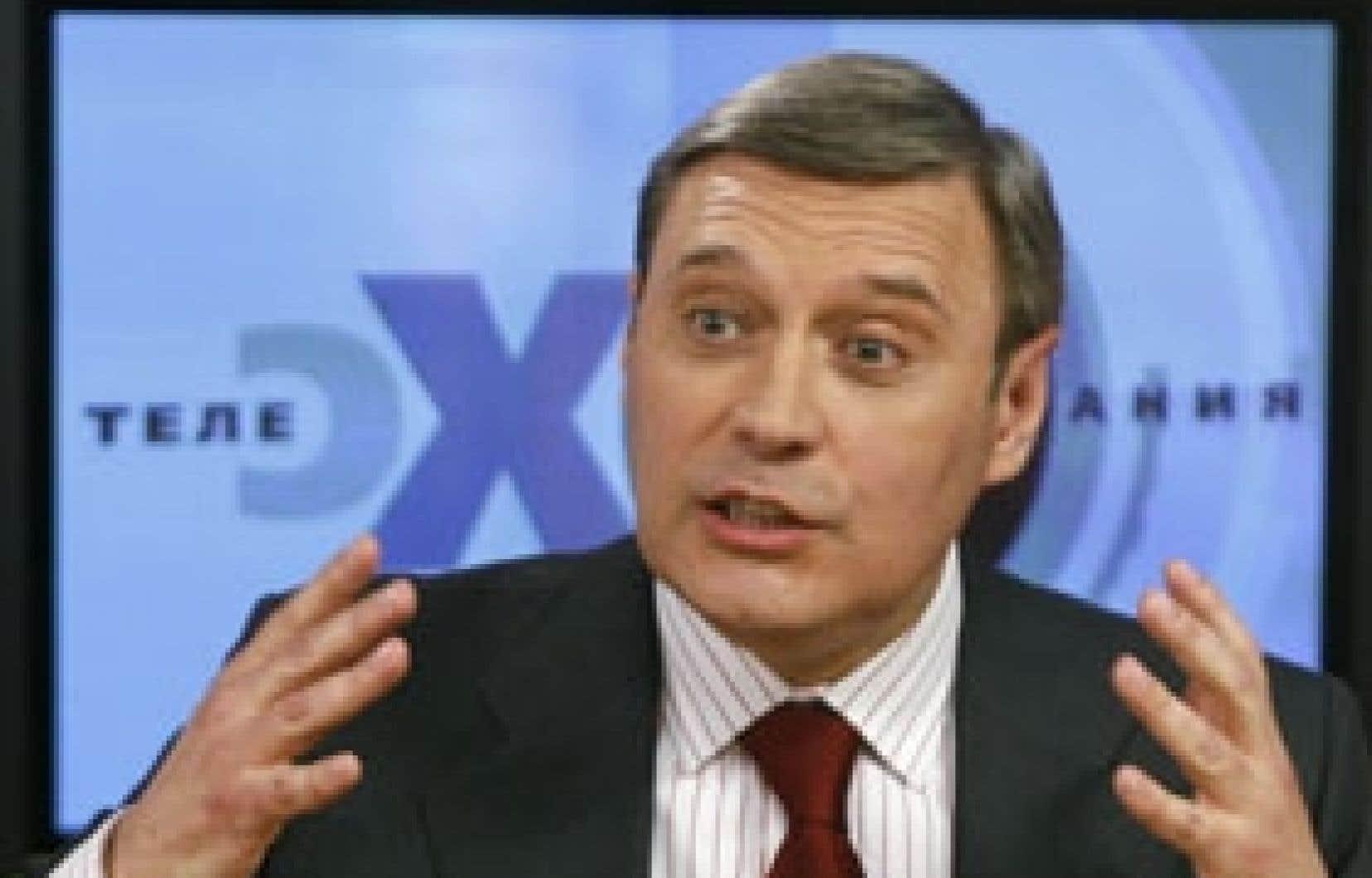 Le leader de l'opposition russe, Ekho Moskvy, lors d'une conférence de presse hier.