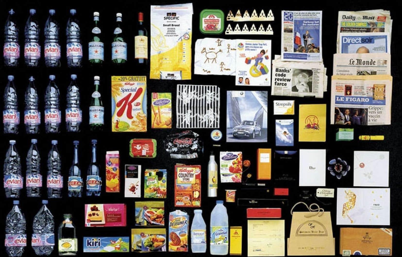 Un aperçu du contenu de poubelles de Francais aisés, en 2008.