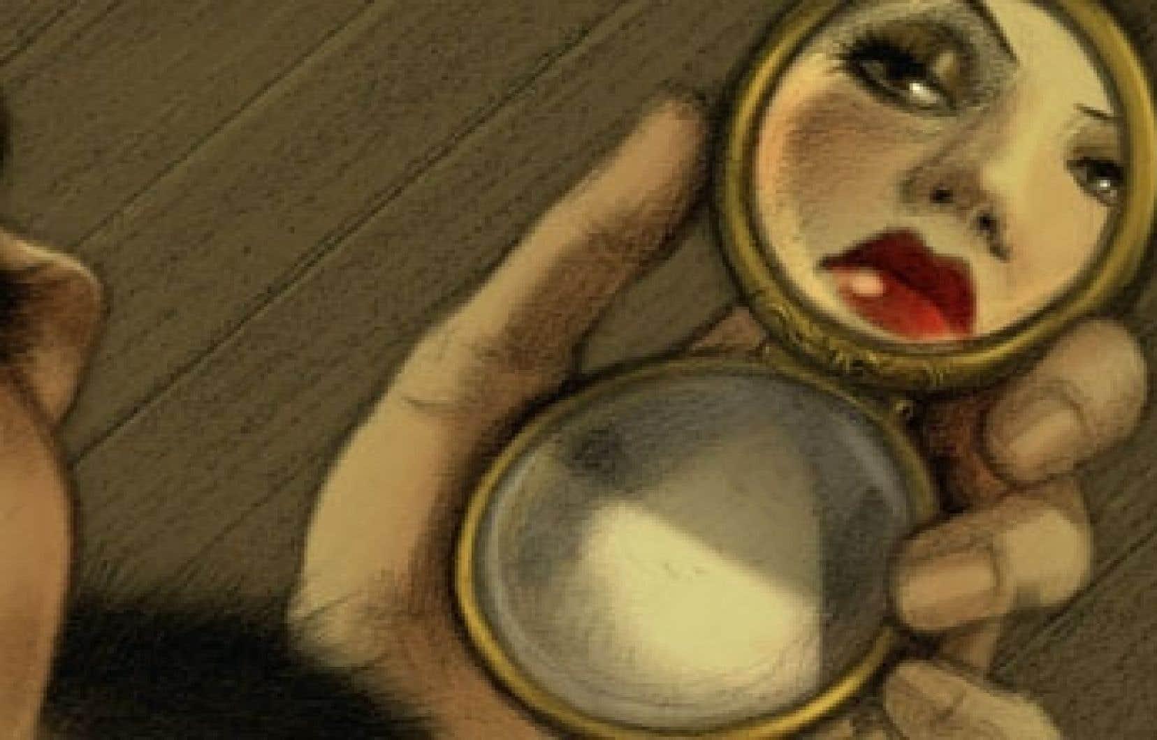 Une case tirée de la bande dessinée Violette Nozière, sur une jeune fille de 19 ans qui, dans la France des années 1930, n'a pas hésité à tuer ses parents pour ne pas avoir à renoncer à son existence oisive et festive.