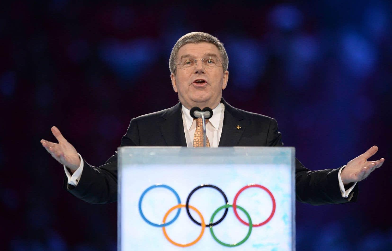 L'avocat d'affaires allemand Thomas Bach en est à ses premiers Jeux à titre de président du Comité international olympique.