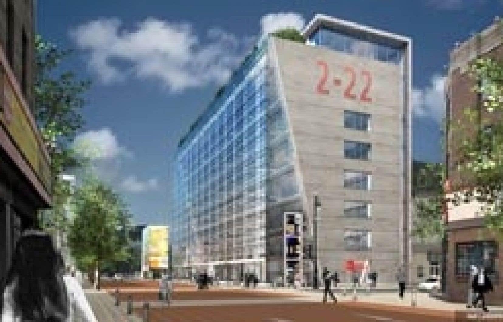 Ce à quoi ressemblera le 2-22. L'édifice abritera des organismes artistiques et la billetterie du Quartier des spectacles.