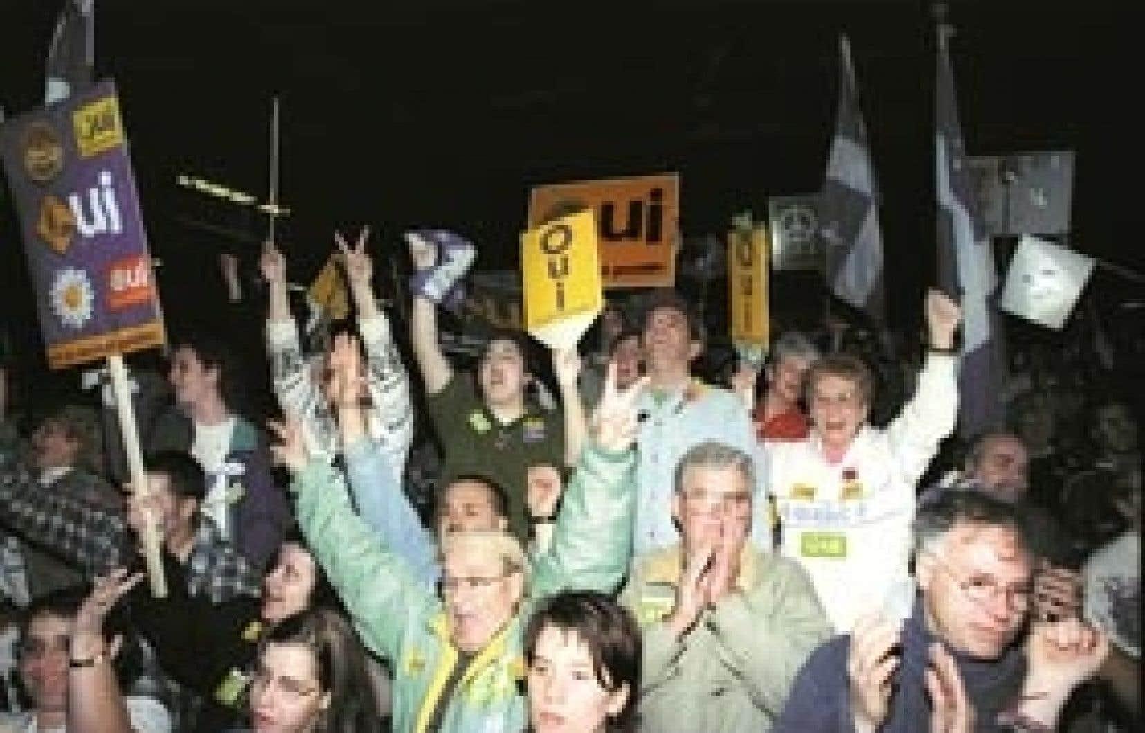 Manifestion pour le OUI à Longueuil lors de la campagne référendaire de 1995