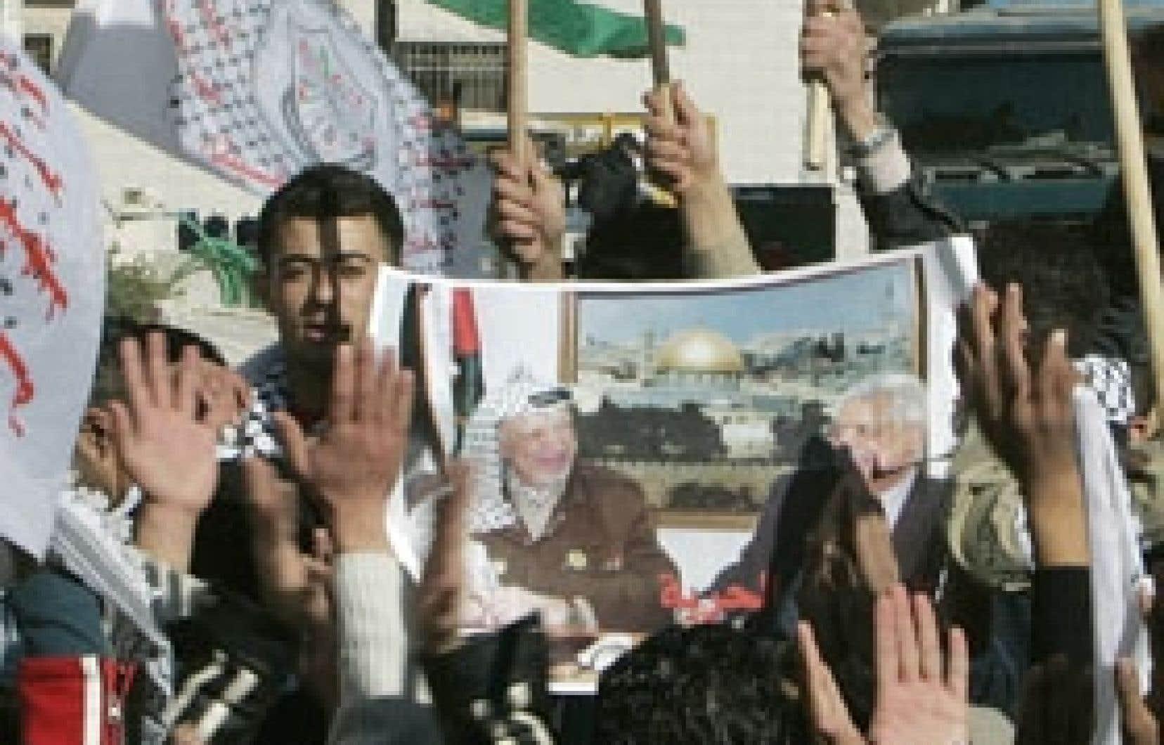 Ralliement du Fatah à Ramallah, en Cisjornanie.