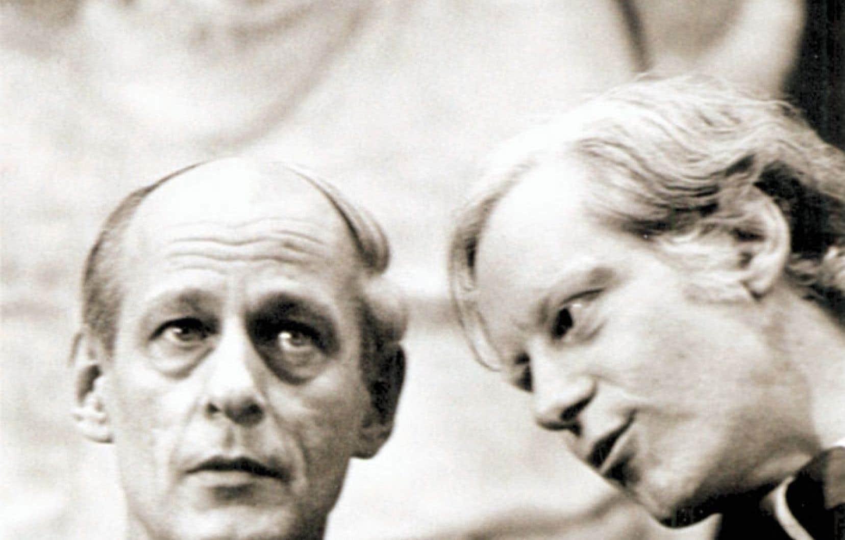 Deux figures importantes du mouvement souverainiste: René Lévesque et Pierre Bourgault, au début des années 70.