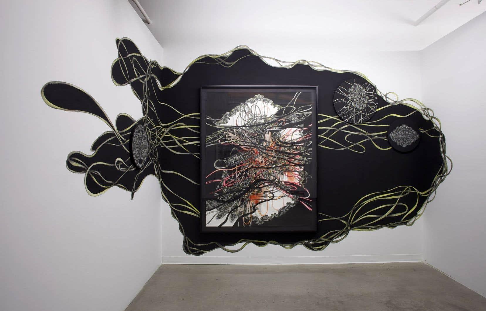 Catherine Bolduc, Comment encadrer un paysage hypothétique, 2014, aquarelle et peinture acrylique sur papier, bois et mur