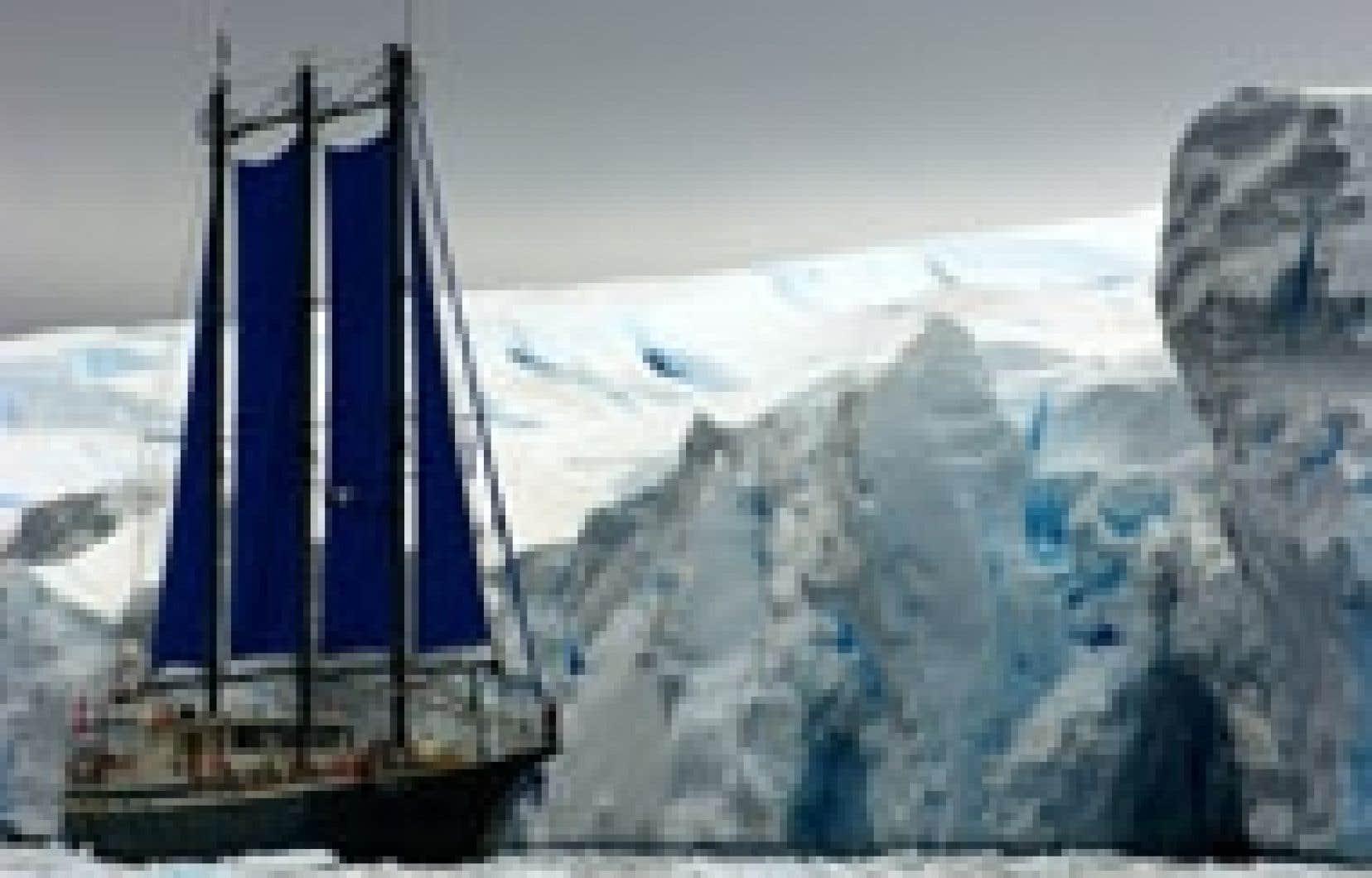 L'équipage du Sedna IV est à même de constater les effets du réchauffement climatique en Antarctique. Source: Jean Lemire