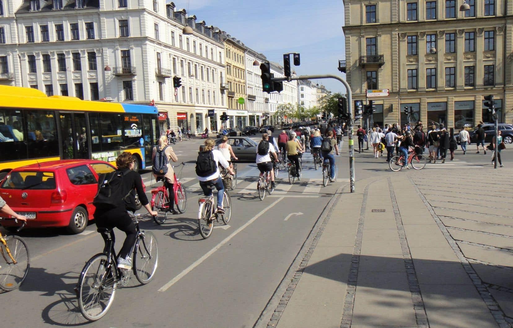 Une piste cyclable le long d'un boulevard à Copenhague, au Danemark. Des chercheurs québécois se penchent sur la capitale du vélo pour inspirer des réformes du code de la route au Québec.