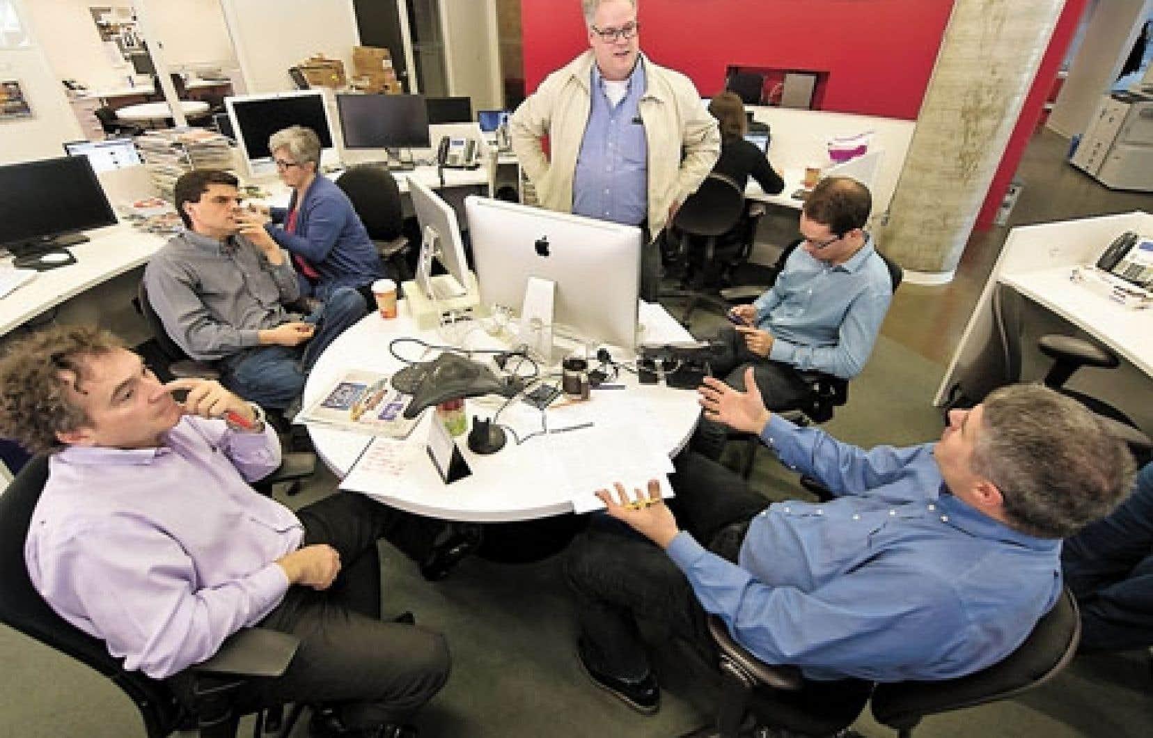 Réunion de production au Journal de Montréal aujourd'hui. À gauche, Dany Doucet.