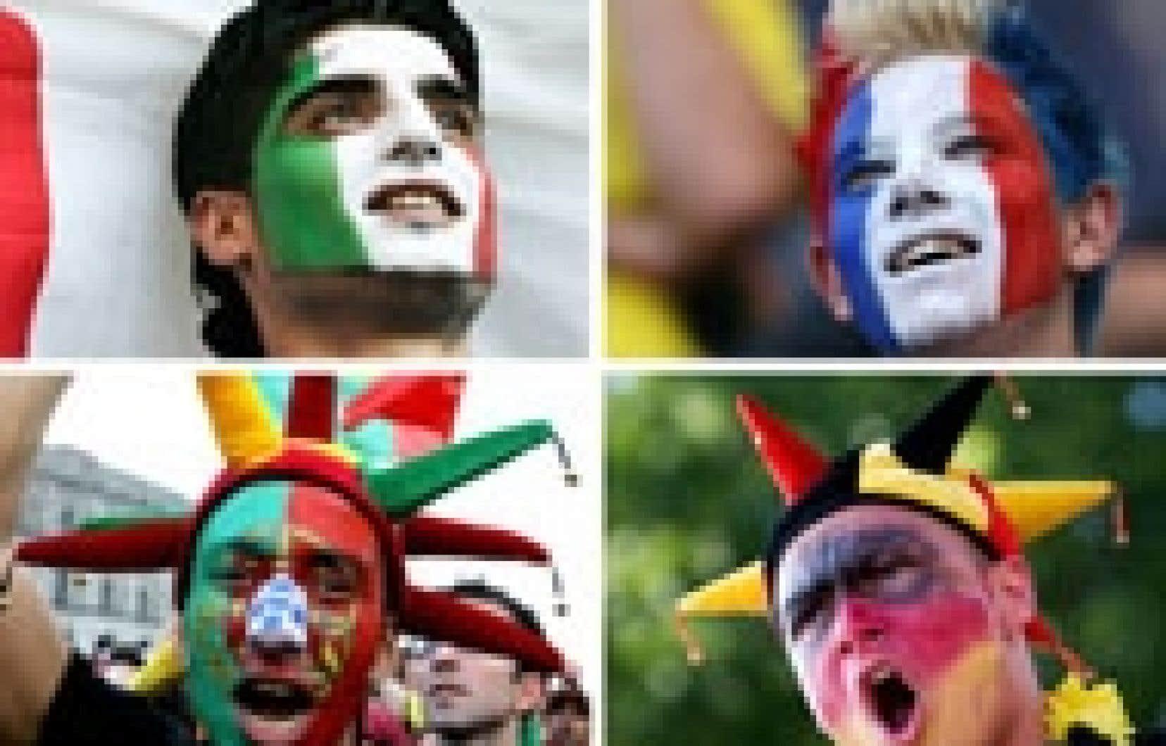 La joie était visible sur le visage des supporters des quatre pays participant aux demi-finales de la Coupe du monde de soccer: (dans le sens des aiguilles d'une montre) l'Italie, la France, l'Allemagne et le Portugal.
