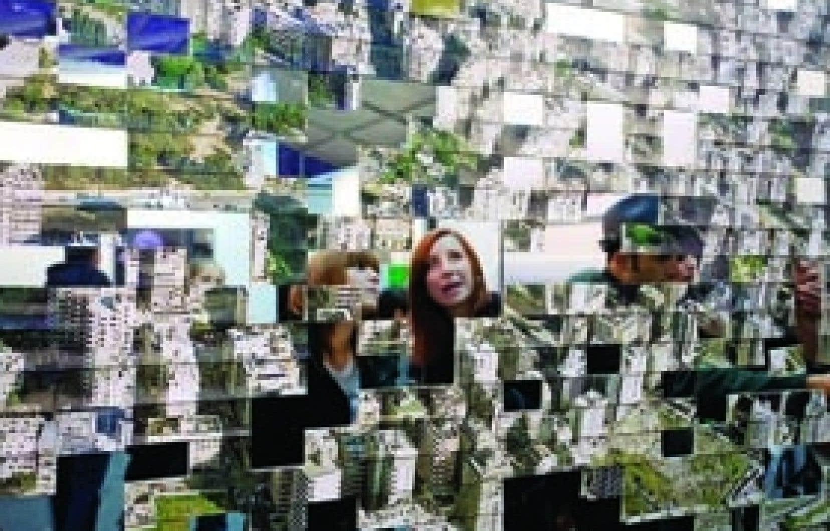 Le Cercle de confusion, 2001, installation de Joana Hadjithomas et Khalil Joreige, Cour carrée du Louvre, 2006.