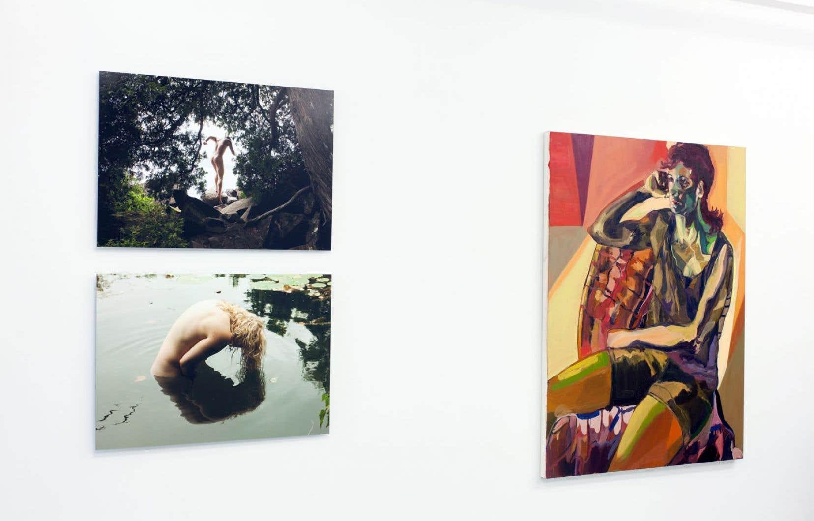 Olivier Gariépy, La fuite d'Orphée et L'Écho de Narcisse de la série Les Âmes Nomades ainsi que Jenna Meyers, Frankie, 2014, huile sur toile.