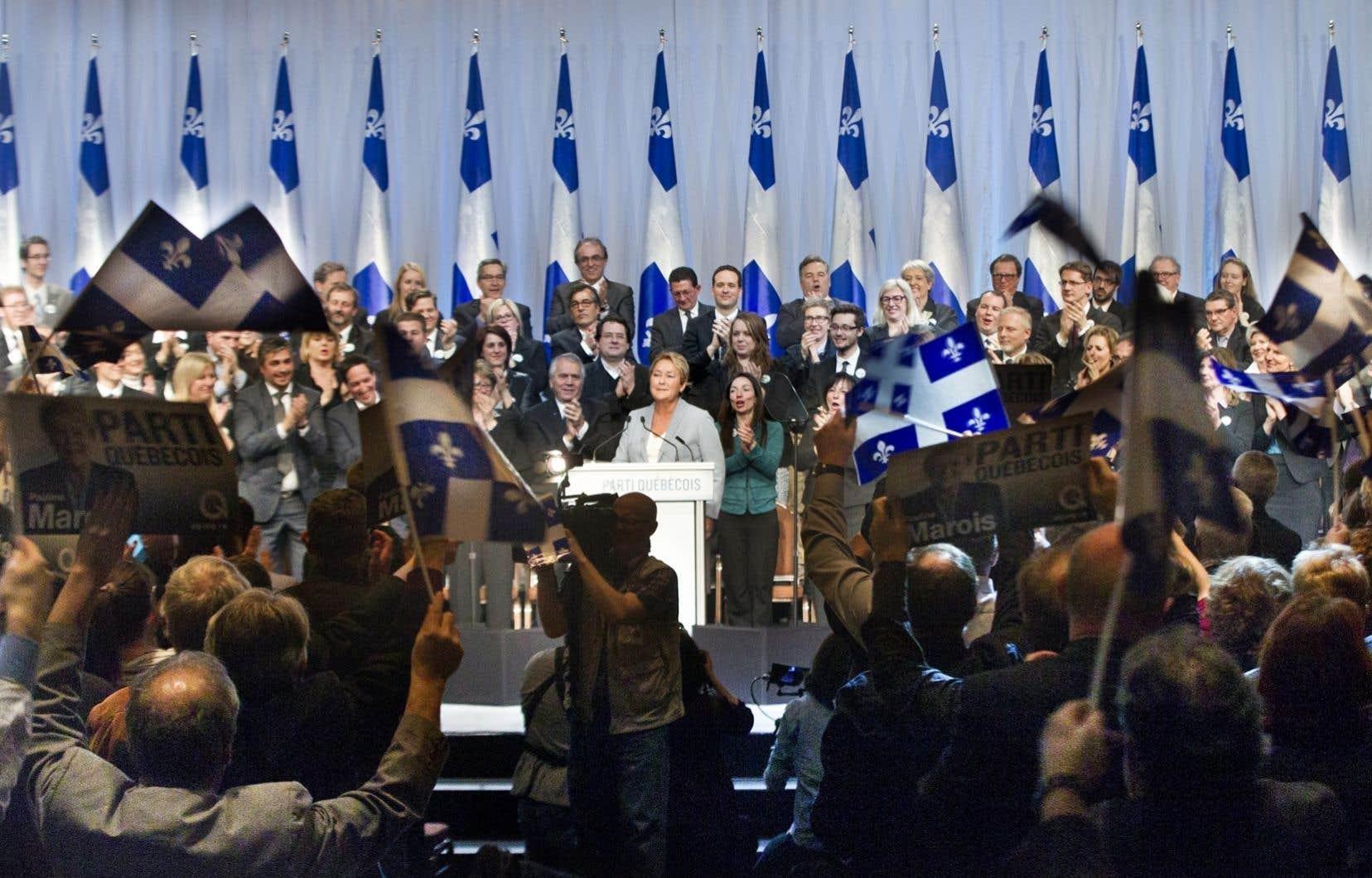 Réunion des péquistes en avril dernier lors du conseil national électoral à Laval.