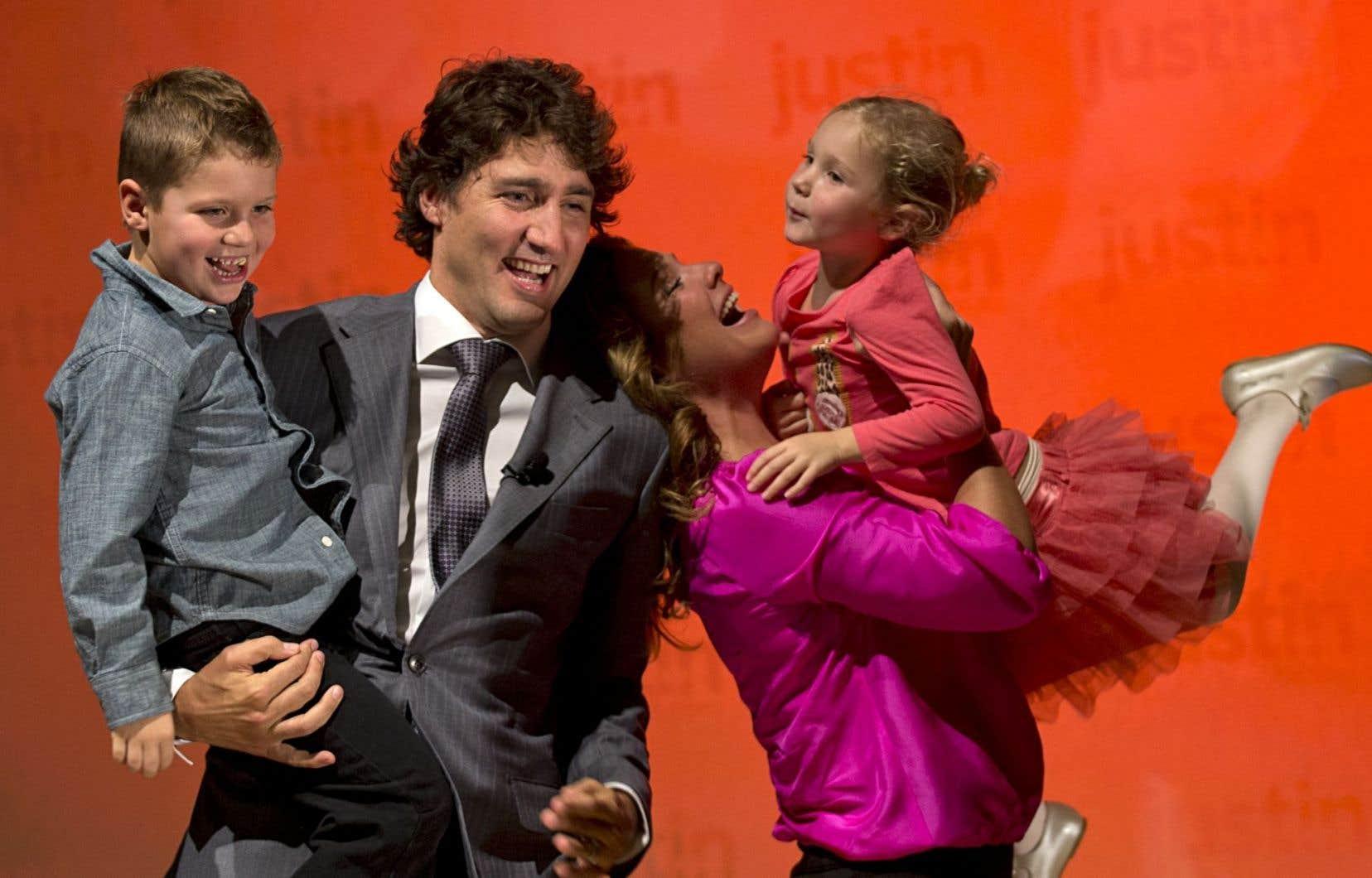 Justin Trudeau et sa famille. Le principal atout du chef libéral? Ne pas être Stephen Harper.