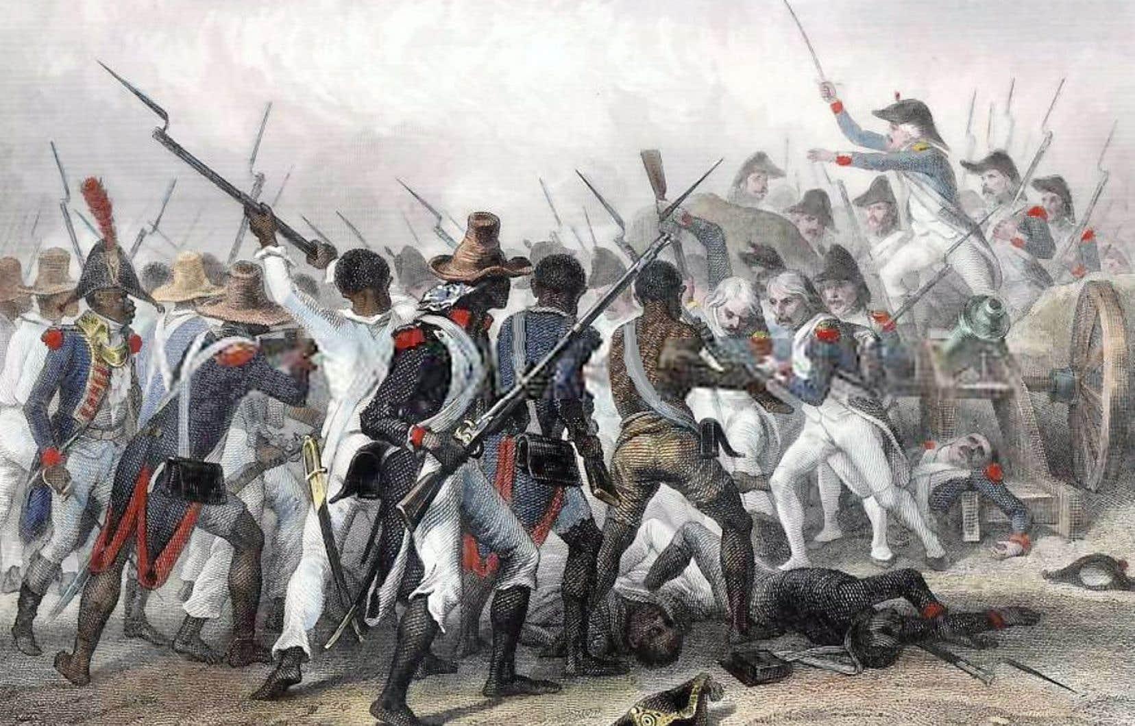 Une gravure de 1845, d'un artiste inconnu, montre une scène de la bataille de Vertières, le 18 novembre 1803.