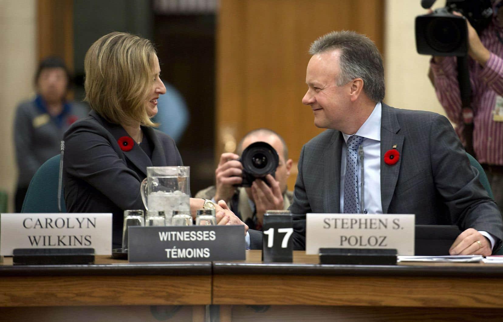 Le gouverneur de la Banque du Canada, Stephen Poloz, et la sous-gouverneure principale, Carolyn Wilkins, ont comparu devant le Comité des finances de la Chambre des communes.