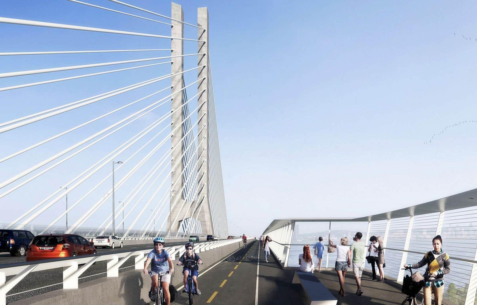Maquette du futur pont Champlain lorsqu'il aura été refait. Imposer un péage seulement à ce pont sans agir sur les autres ne sera pas très efficace pour améliorer la circulation sur et autour de l'île de Montréal, selon des experts.