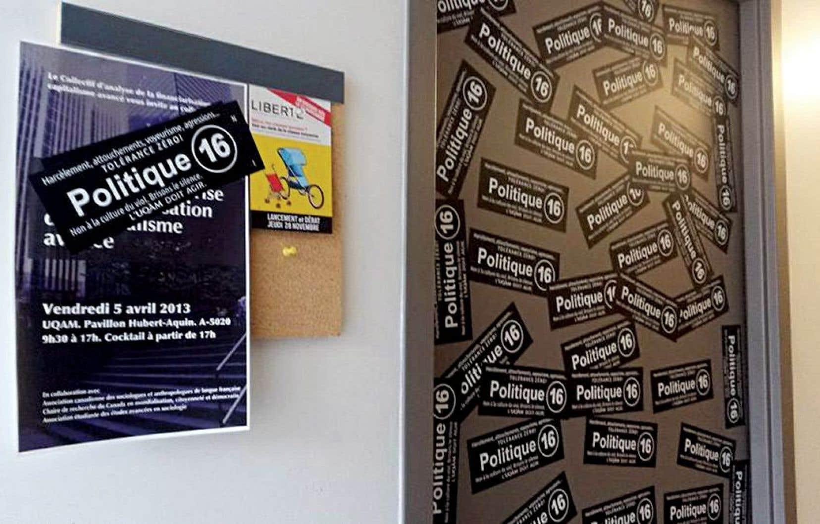 Trois professeurs de l'UQAM ont vu la porte de leur bureau placardée d'autocollants faisant référence à sa politique 16 contre le harcèlement sexuel.