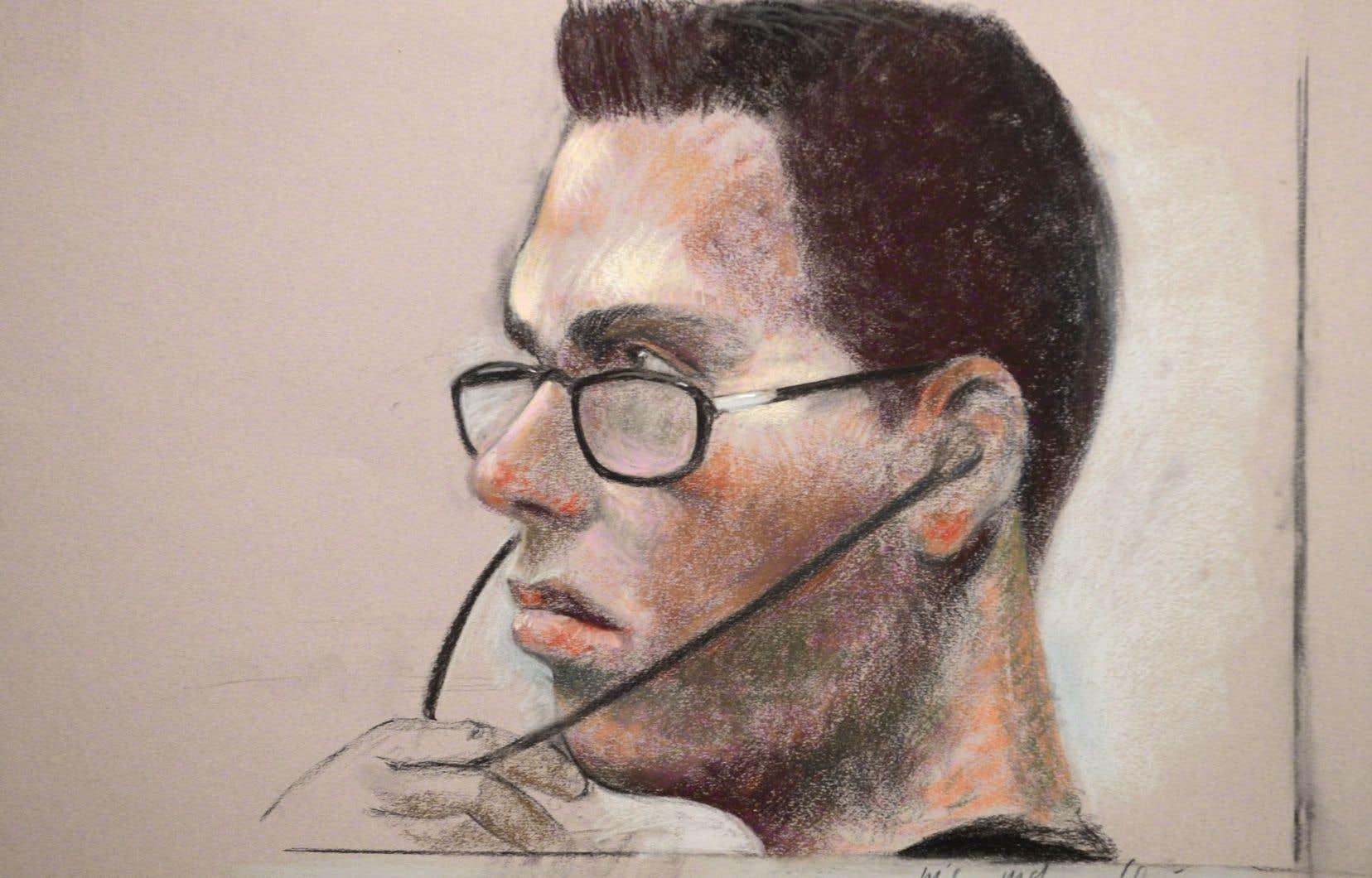 Illustration de Luka Rocco Magnotta durant le procès.