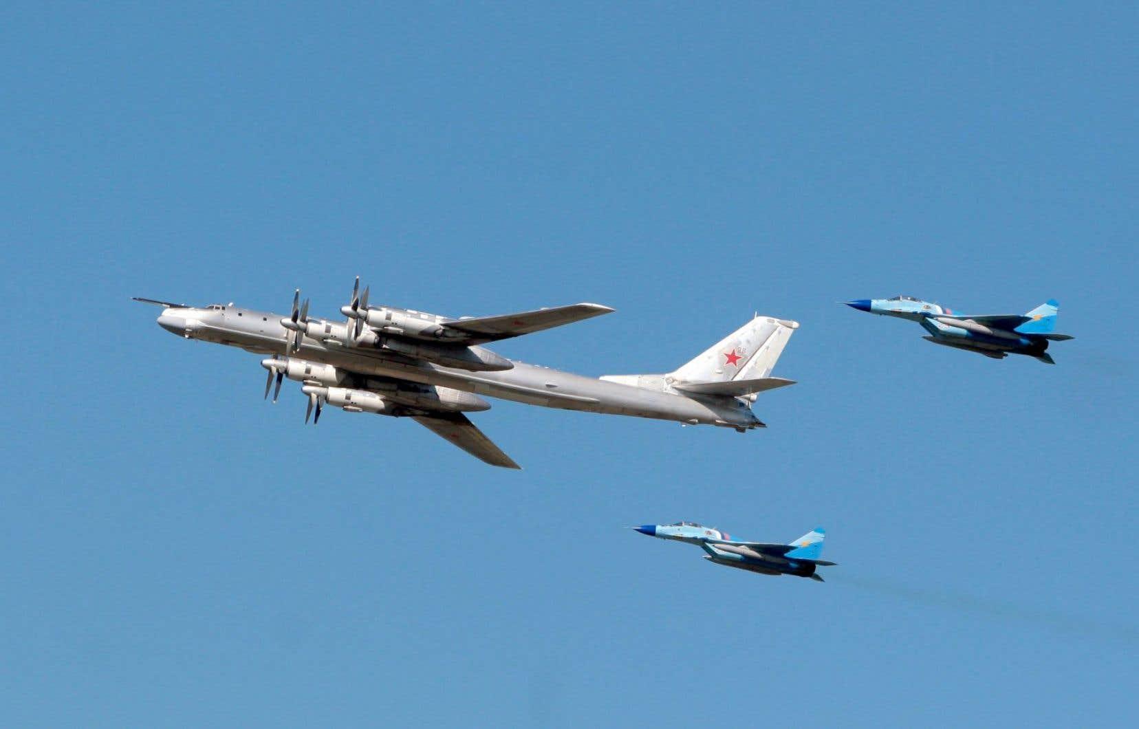 Des avions militaires russes lors d'un vol de démonstration