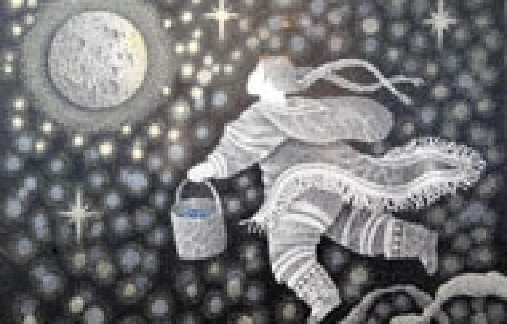 Woman watering moon, Germaine Arnaktauyok, 2003.
