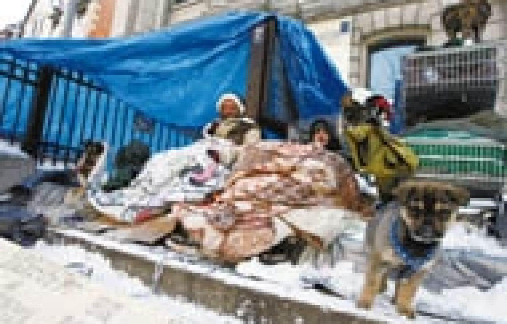 Mario et Simon vivent dans un abri très précaire au centre-ville de Montréal.