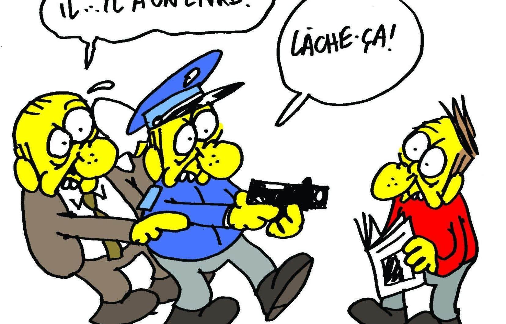Un dessin fait par Charb lors du Devoir des écrivains, en 2011.