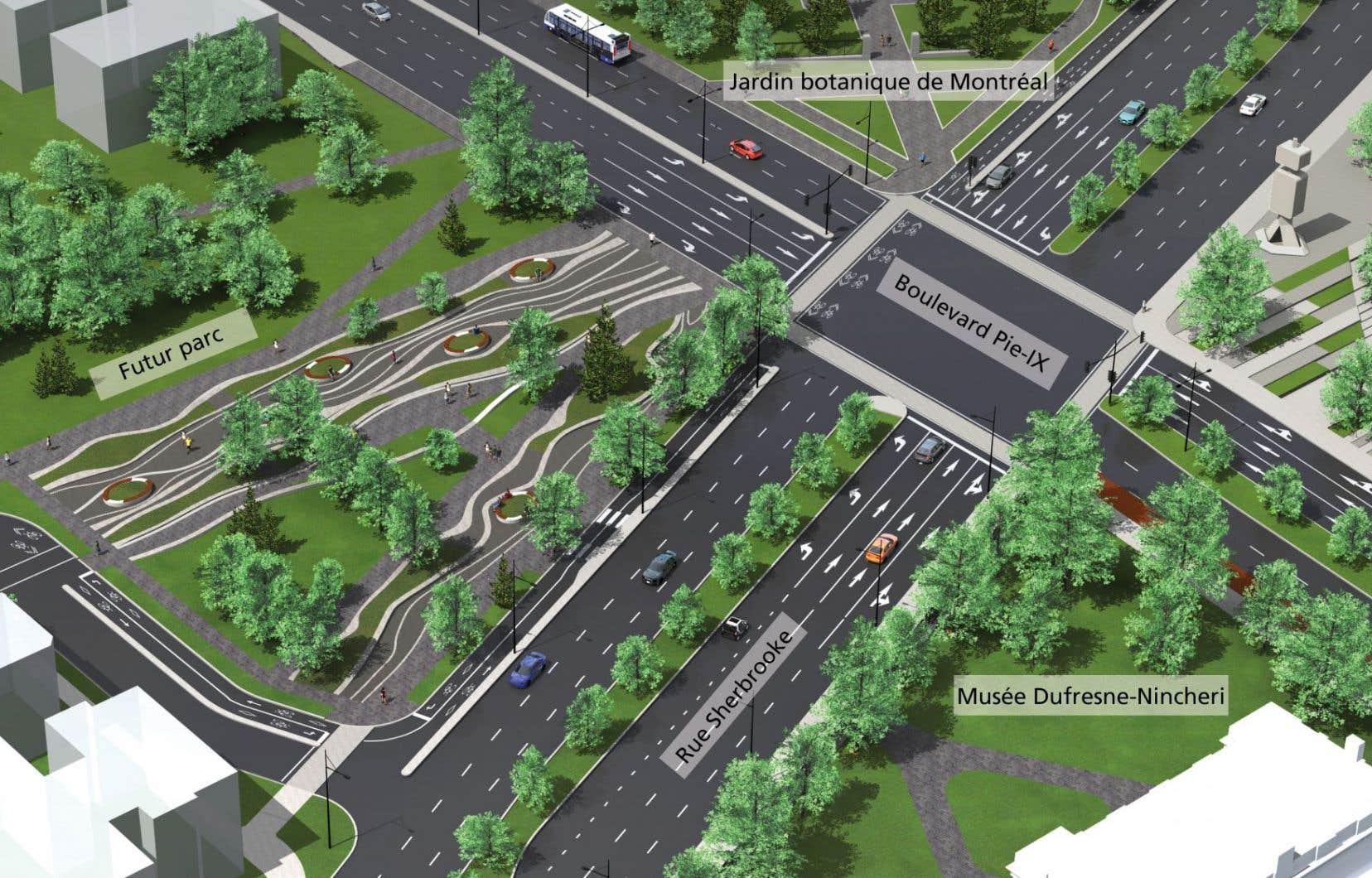 Le réaménagement de l'intersection du boulevard Pie-IX et de la rue Sherbrooke sera réalisé d'ici 2017 au coût de 19 millions de dollars.