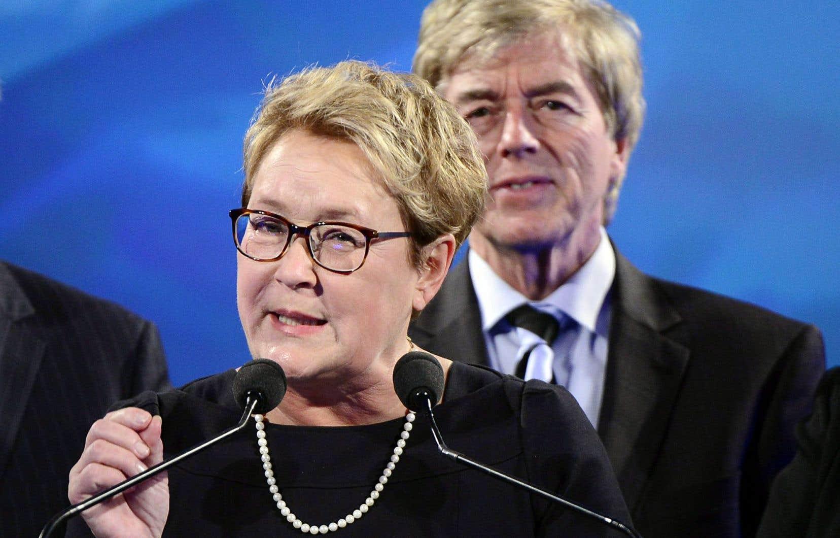 Pauline Marois et Claude Blanchet, le 7 avril 2014, soir de la défaite électorale du PQ.