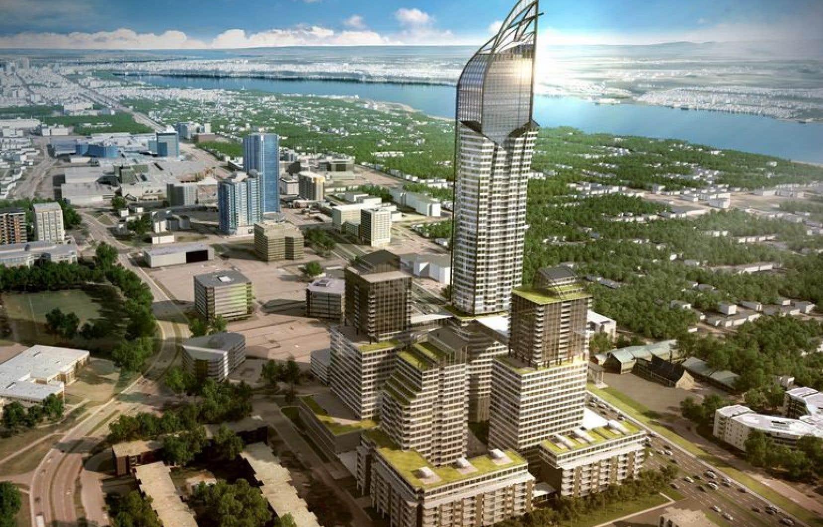 Le projet de gratte-ciel de 250 mètres tel qu'il est présenté sur les projections du promoteur immobilier.