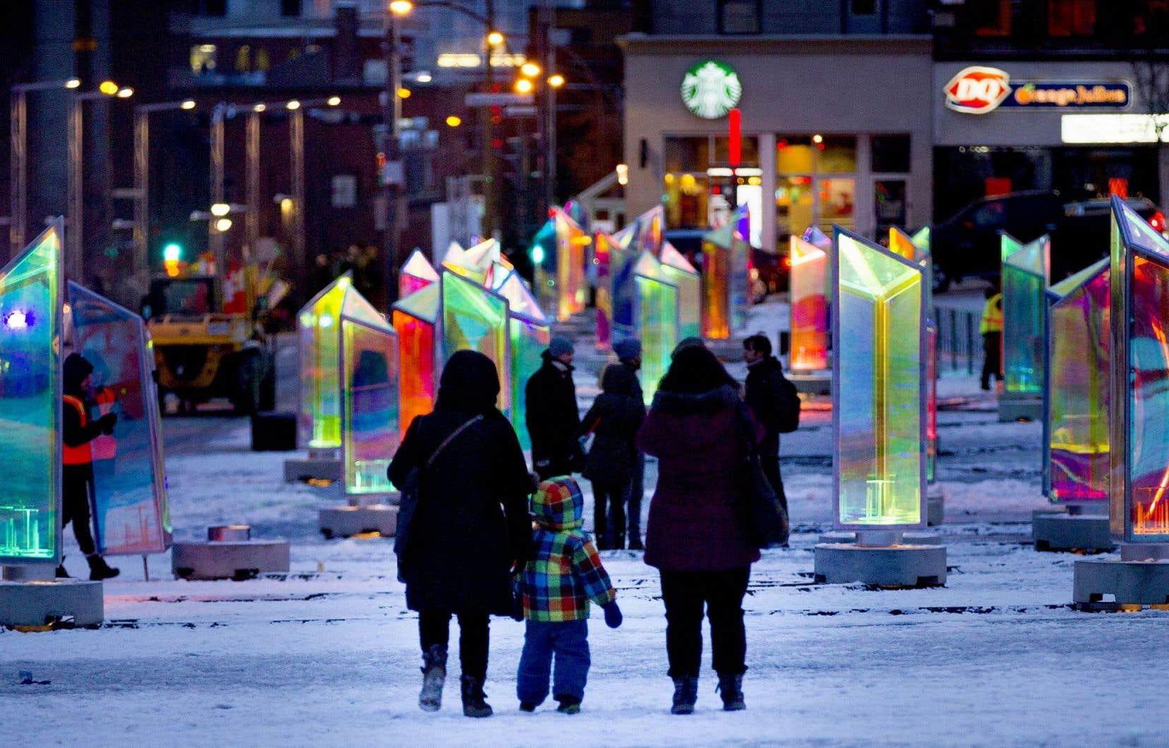 L'installation de luminothérapie installée sur la place des Festivals cet hiver sera une des expériences que Montréal veut partager avec les représentants du Global Cultural Districts Network.