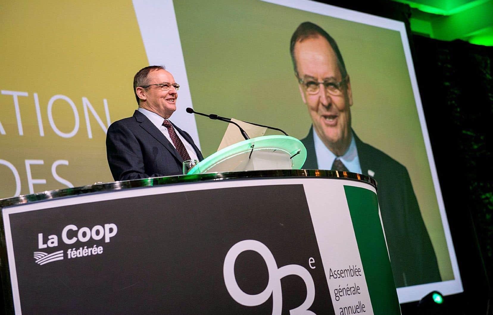Denis Richard, président de la Coop fédérée, lors de l'assemblée générale qui se tenait mercredi.