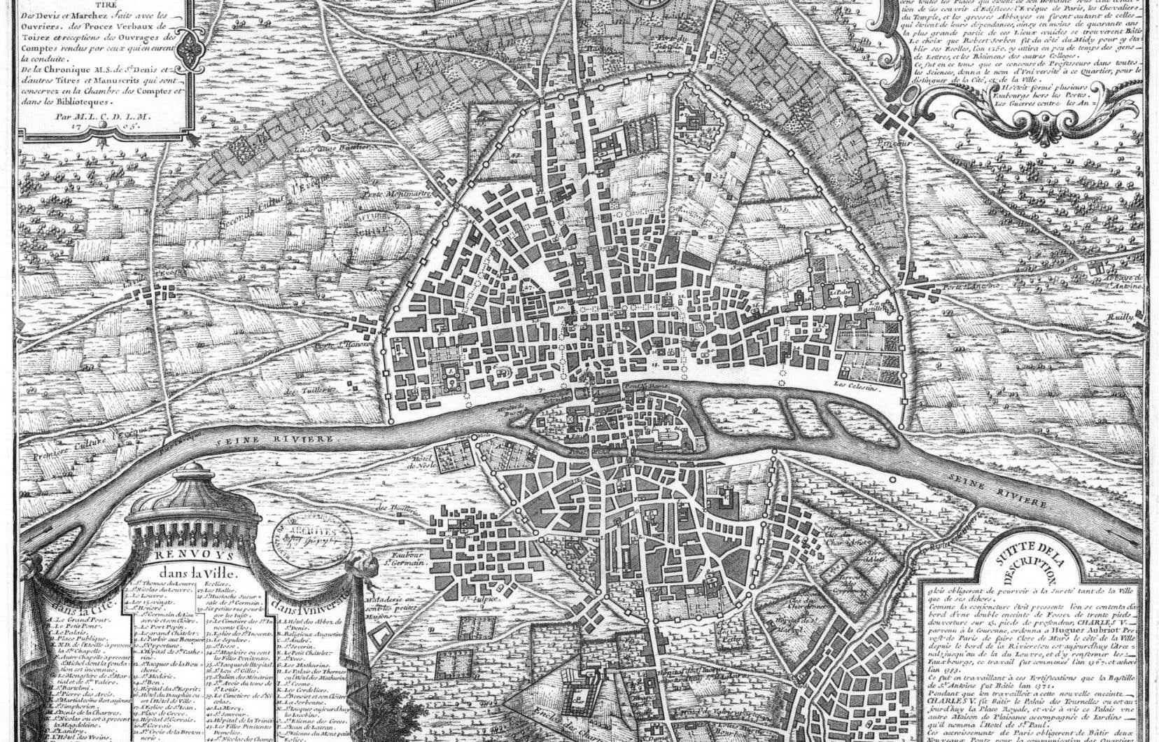 Le Paris du Moyen Âge est pratiquement un des personnages du roman de Maryse Rouy. Ici, le cinquième plan de la ville de Paris, 1383.