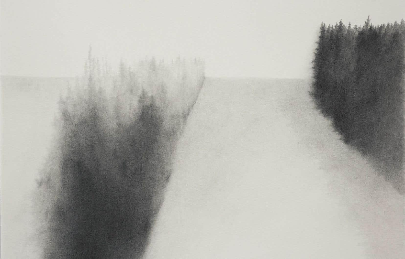Andréanne Godin, no 1 de la série Descriptions de paysages, 2015 (poudre de graphite sur papier Arches, 61 x 61cm)