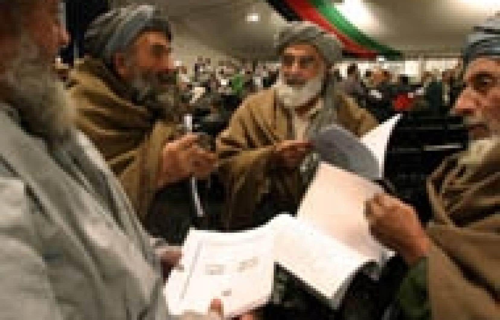 La nouvelle Constitution comporte 162 articles et instaure un régime présidentiel bicaméral avec une Wolesi Jirga (Chambre du peuple) et une Meshrano Jirga (Chambre des Anciens).