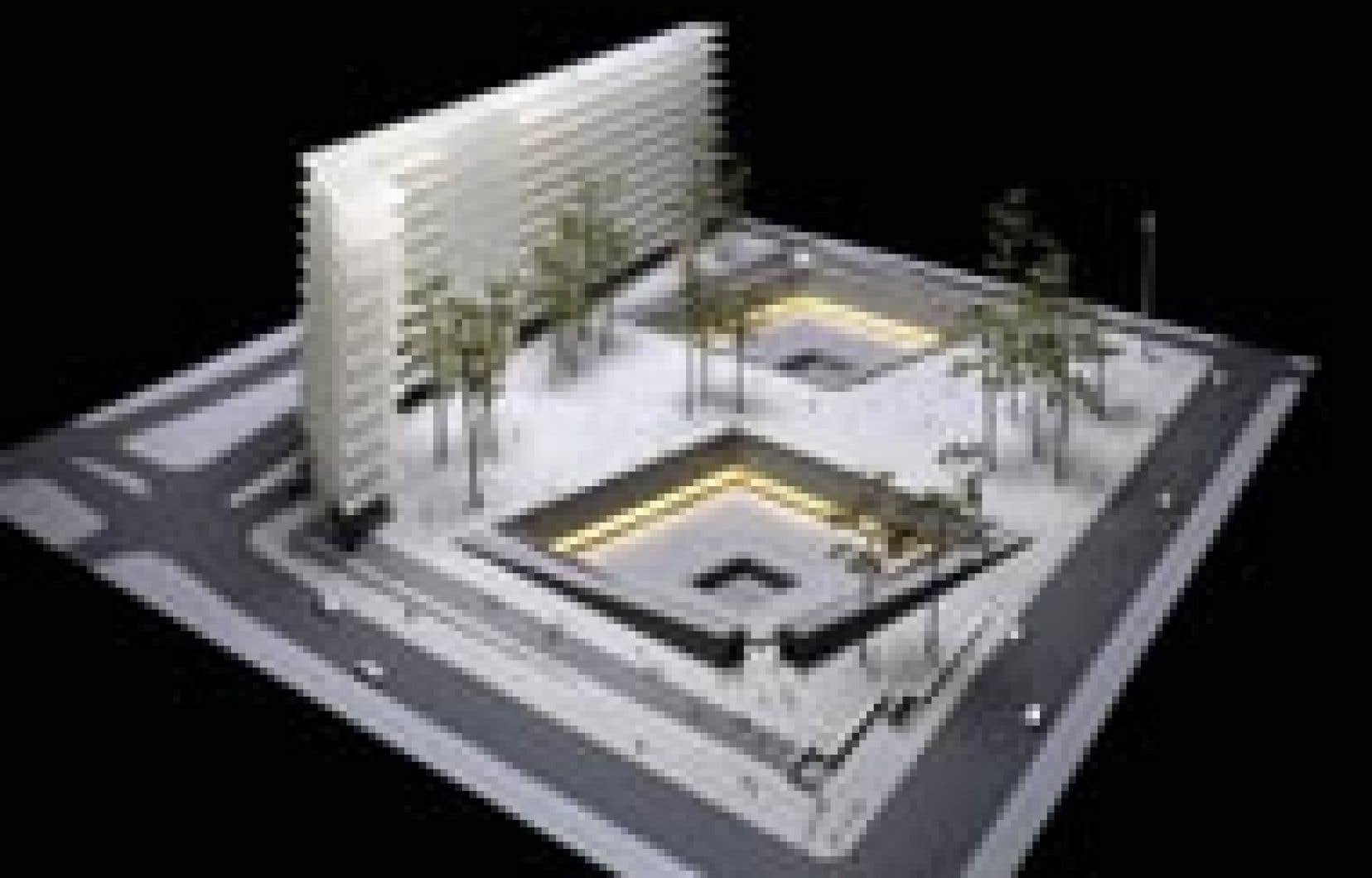 «Reflecting Absence», un projet comportant deux bassins, a été choisi hier comme monument aux morts du World Trade Center, après un concours international de huit mois auquel ont été soumises plus de 5000 propositions.