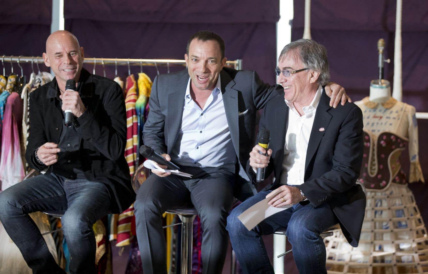 Le fondateur du Cirque du Soleil, Guy Laliberté, le nouveau président du CA de la société, l'homme d'affaires québécois Mitch Garber, et le président du Cirque du Soleil depuis 2001, Daniel Lamarre
