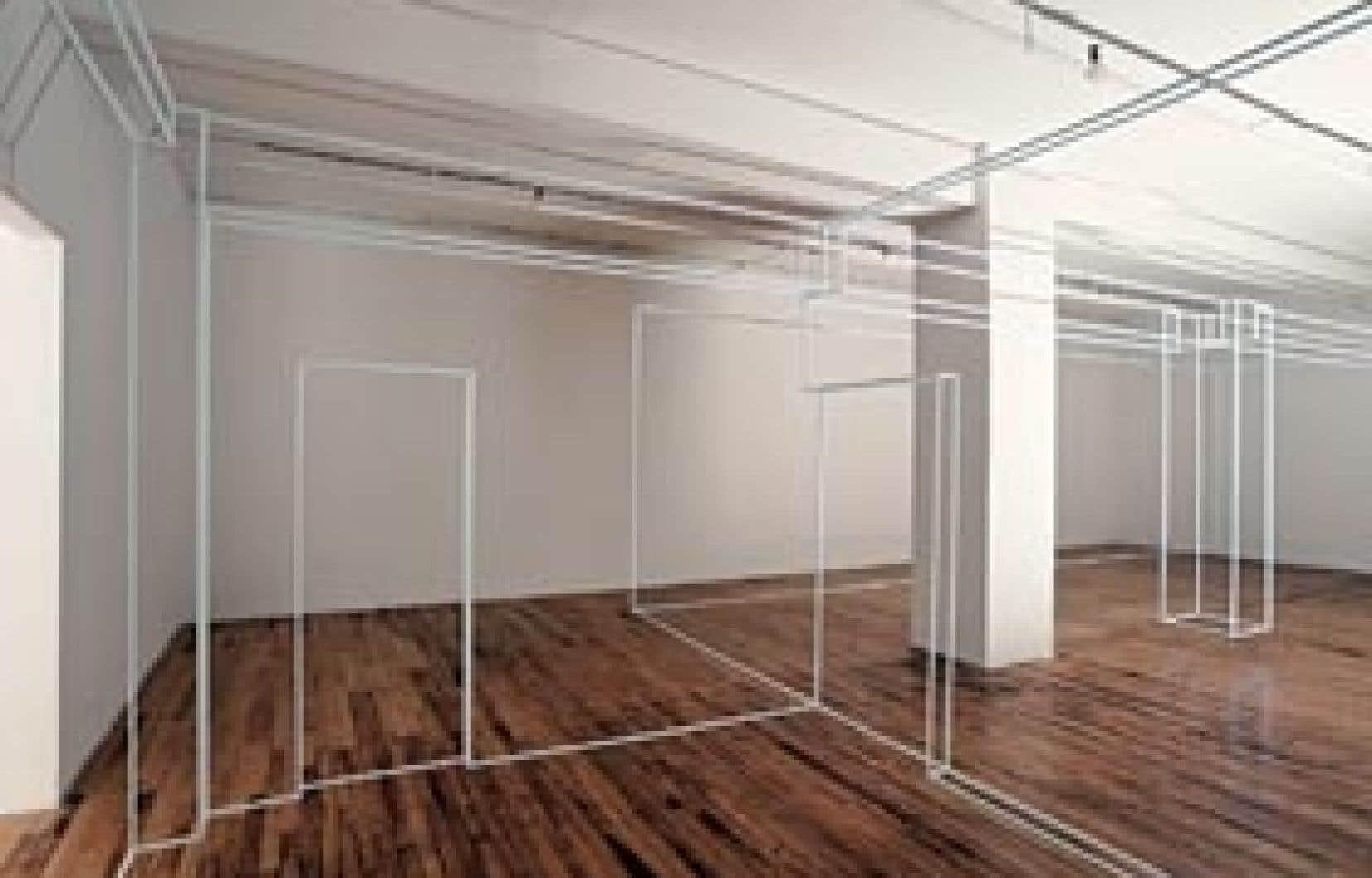 Au lieu de massifier l'espace vide, l'artiste, à Skol, le cerne, le délimite et le dessine au moyen de tiges blanches qui calquent à une échelle de 80 % les arêtes des deux espaces de la galerie, portes et colonnes comprises.