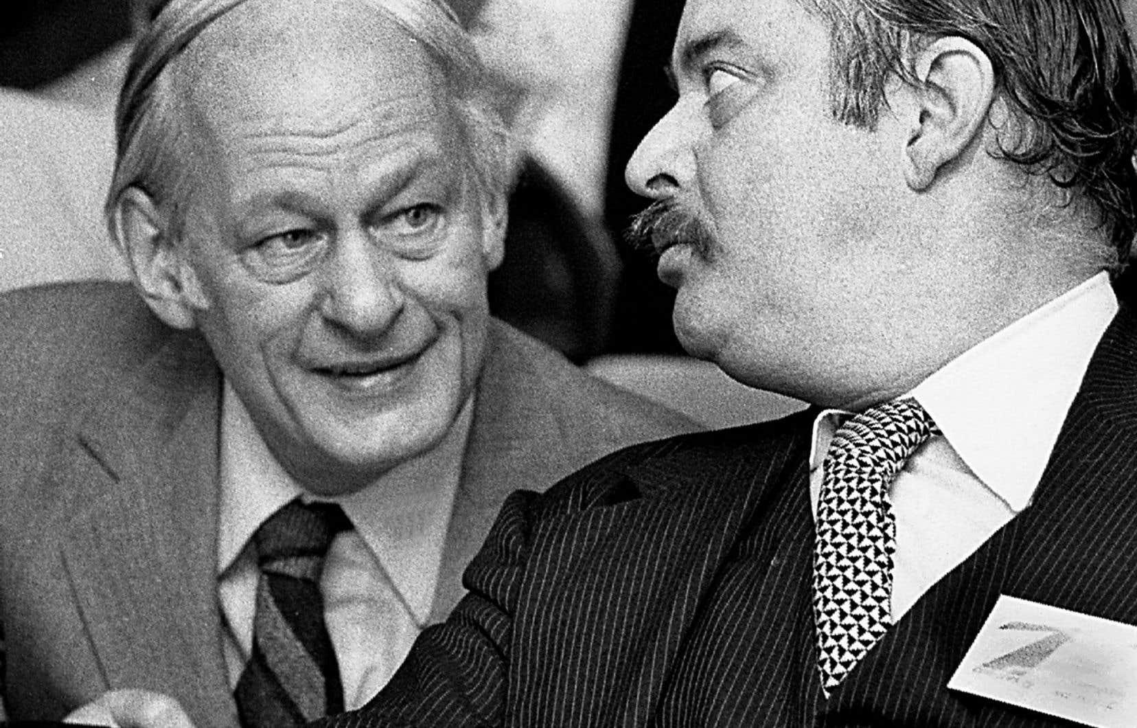 René Lévesque et Jacques Parizeau, en 1983