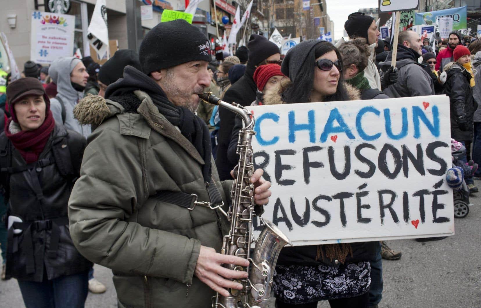 Une manifestation contre les mesures d'austérité le 19 novembre 2014