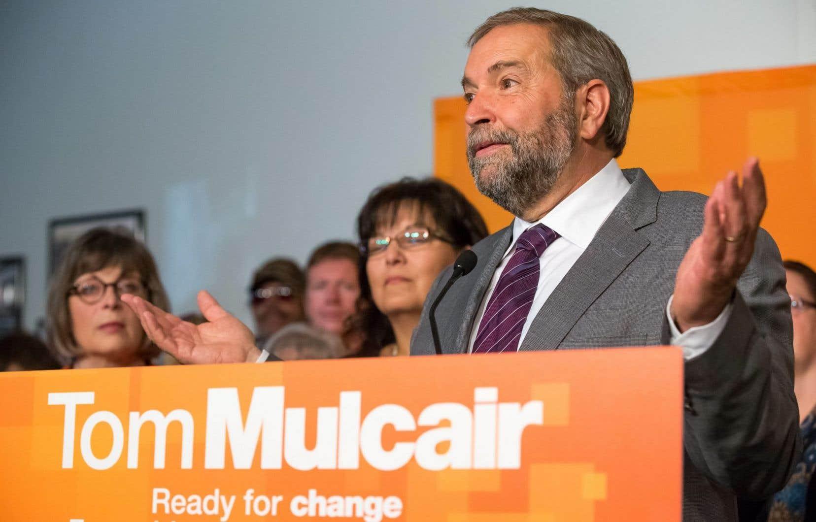Le chef néodémocrate, Thomas Mulcair, était de passage à Saskatoon lundi pour une annonce concernant la lutte contre la violence faite aux femmes.