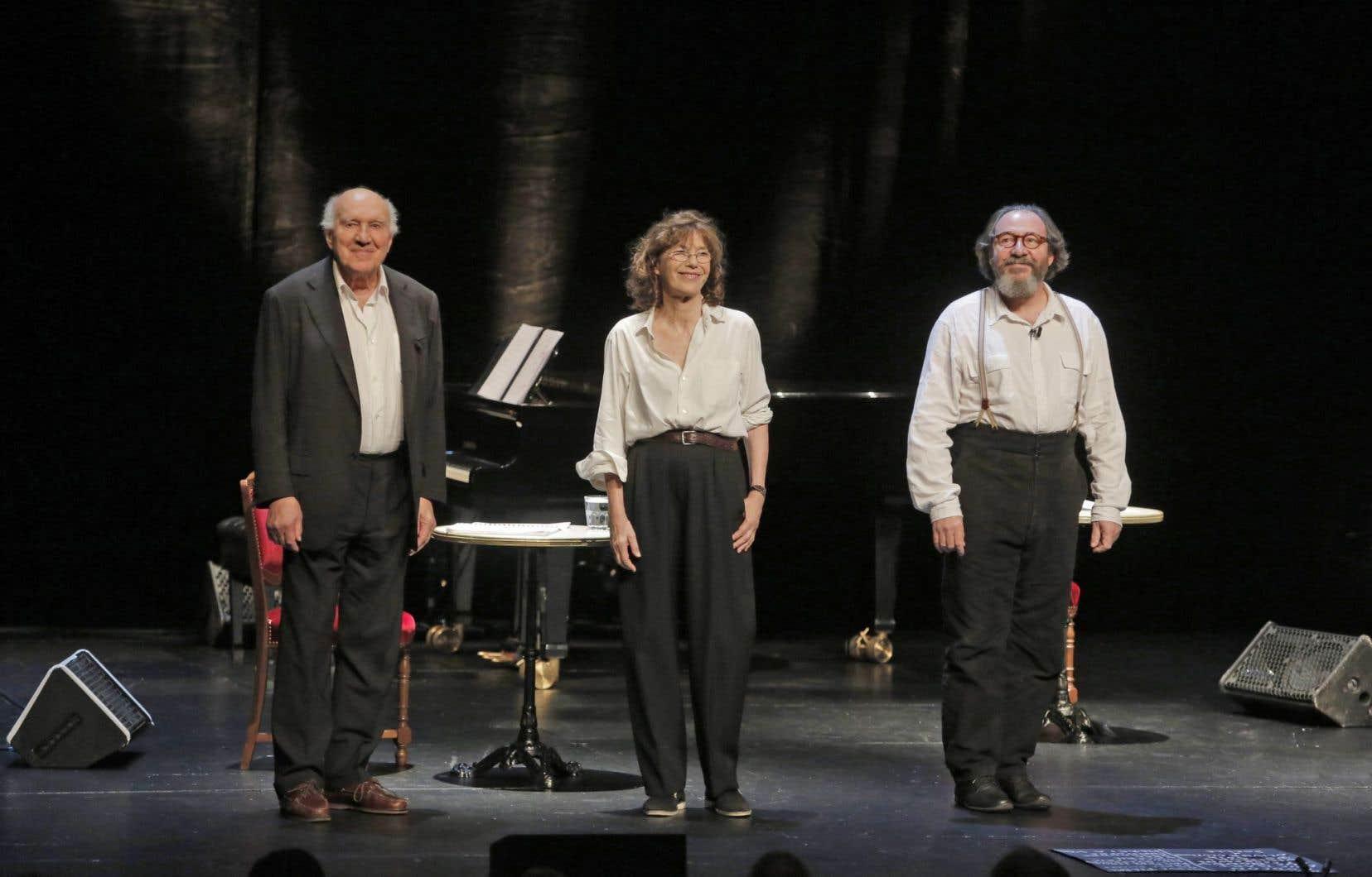 Michel Piccoli, Jane Birkin et Hervé Pierre porteront les mots de Serge Gainsbourg sur scène jeudi soir, à Montréal.
