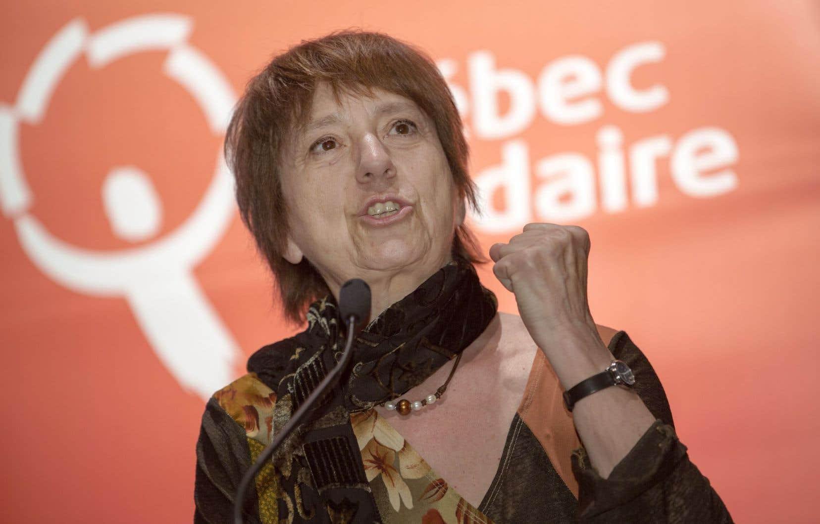 La co-porte-parole de Québec solidaire Françoise David