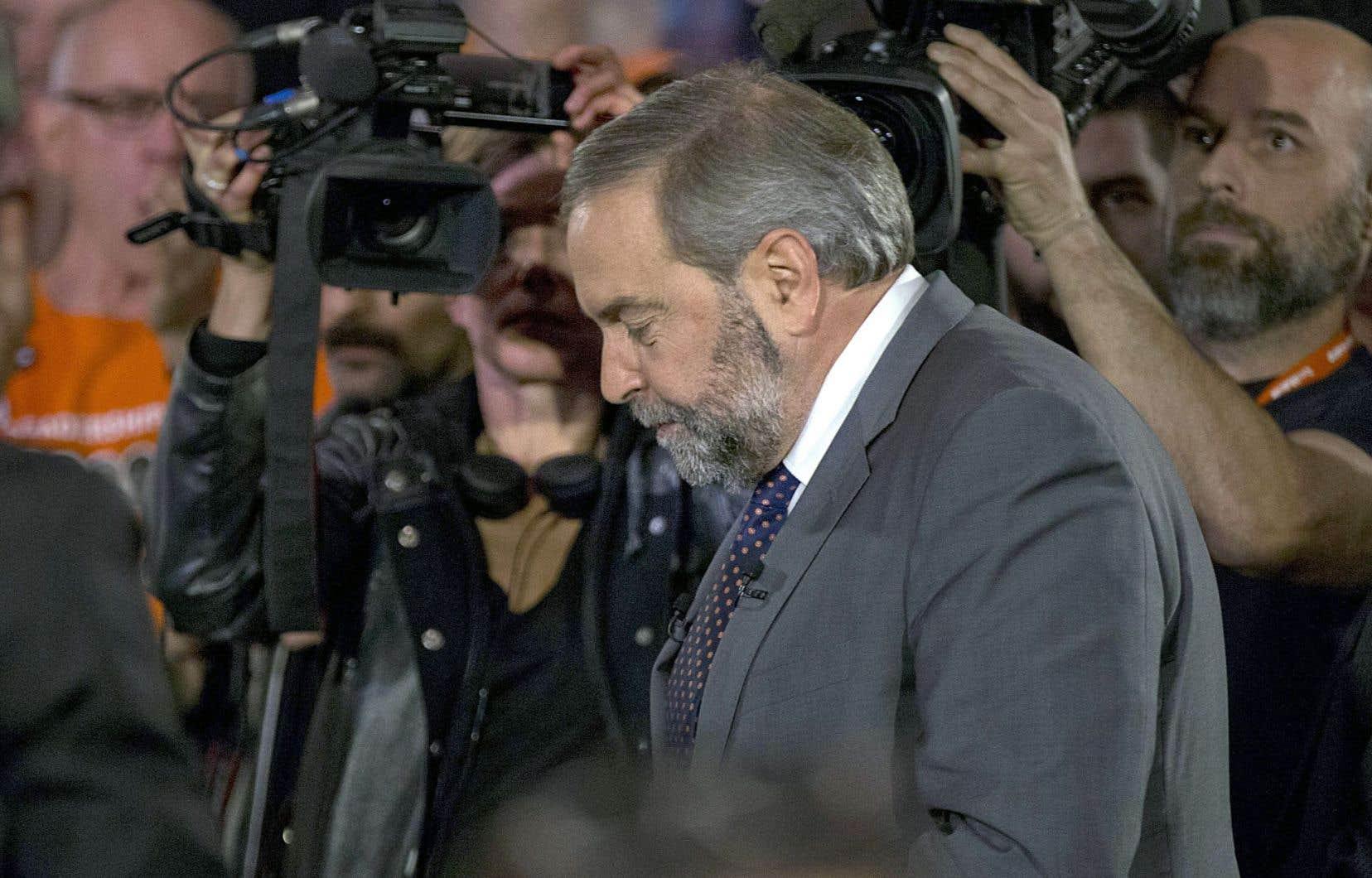 Le chef du NPD, Thomas Mulcair, dévoilait sa plateforme électorale vendredi à Montréal.